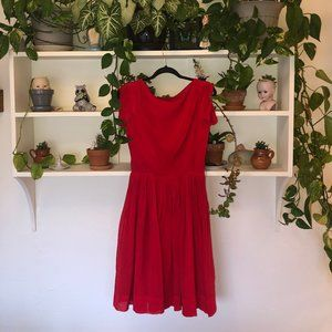 Perfect Red Party Dress with pleated skirt
